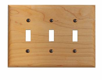 Switchplate Maple Hardwood Triple Toggle 19680grid