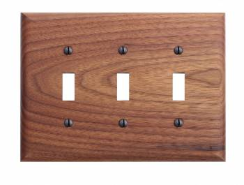 Walnut Triple Toggle Switch Plate
