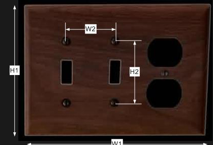 spec-<PRE>Switchplate Walnut 2 Toggle/Outlet </PRE>