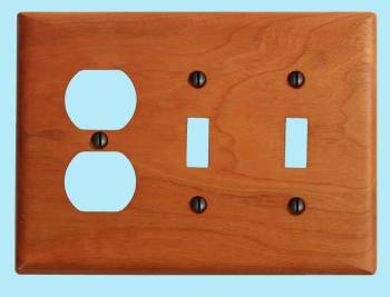 <PRE>Switch Wall Cover plate Cherry Double Toggle/Outlet </PRE>zoom2