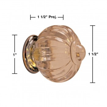 "spec-<PRE>Cabinet Knob Clear Acrylic 1 1/2"" Dia W/ Chrome Back </PRE>"