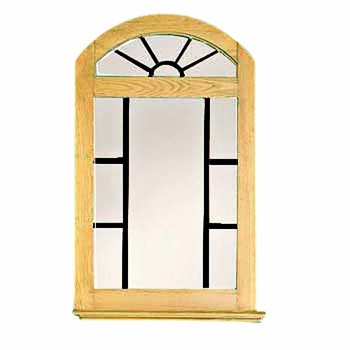 Vanity Mirror Windowpane Arch Country Pine 39