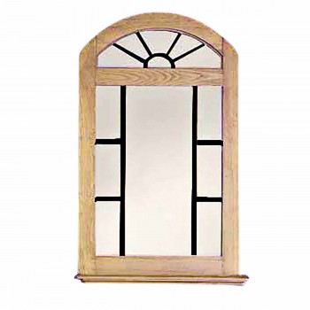 Vanity Mirror Windowpane Arch Honey Pine 39 Inch197114grid
