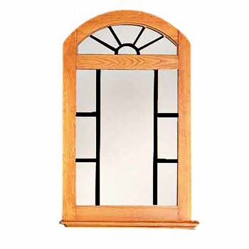 Vanity Mirror Windowpane Arch Heirloom Pine 39