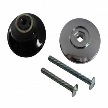 <PRE>Cabinet Knob Black Chrome 1 1/2inch Dia W/ Backplate </PRE>zoom5