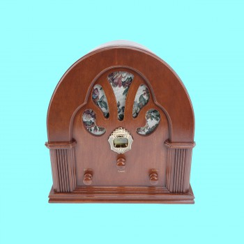 Radios Natural Oak Church Battery Operated 12.5H Cathedral Radio Old Fashioned Radio Cathedral Radios