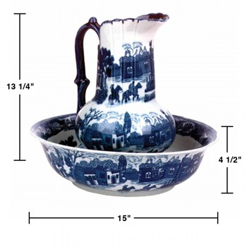 spec-<PRE>Chamber Pot Set Delft Blue Ceramic Chamber Pot and Pitcher </PRE>