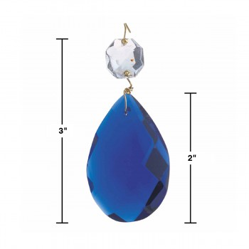 spec-<PRE>Prisms Blue Glass Pendalogue 2 1/2&quot;H </PRE>