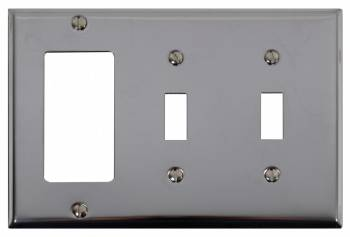 Switchplate Chrome Double Toggle GFI 19858grid
