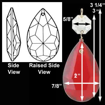 spec-<PRE>Prisms Red Glass Pendalogue 2&quot;H </PRE>