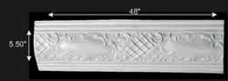 "spec-<PRE>Ornate Cornice White Urethane  47 1/4"" L  Brook </PRE>"