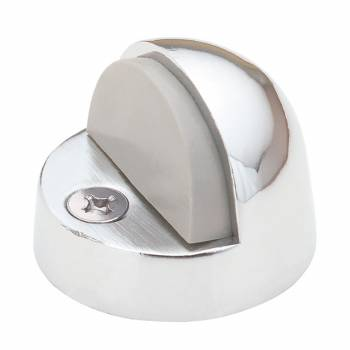 Brass Door Stop High Dome Floor Mount Bumper Chrome