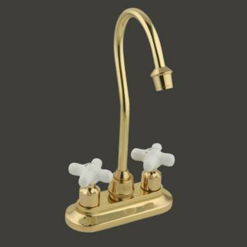 <PRE>Gooseneck Bar Faucet Heavy Cast Brass Cross Handles </PRE>
