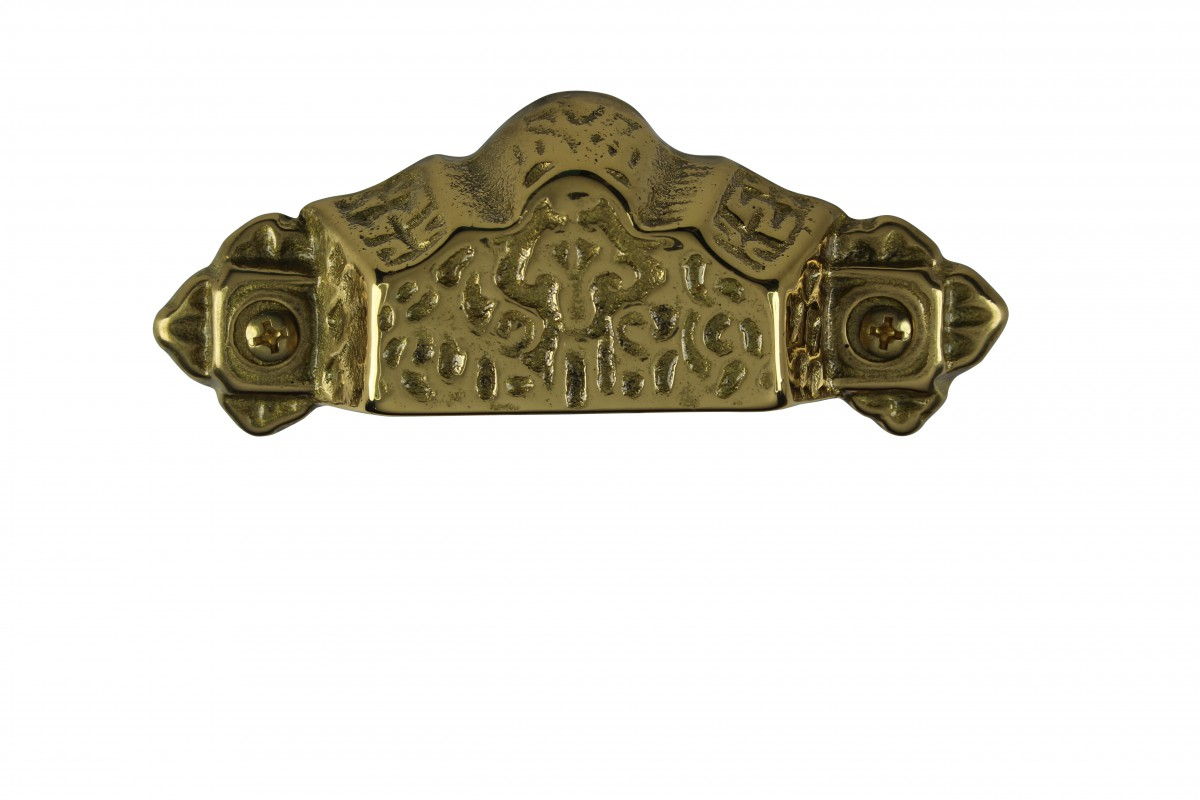 Antique Bin Pull Bright Solid Brass Cup Scalloped