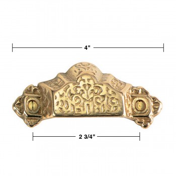 spec-<PRE>Antique Bin Pull Bright Solid Brass Cup Scalloped </PRE>