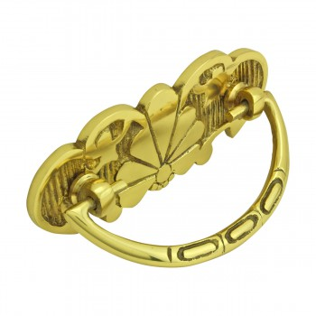 <PRE>Cabinet Drawer Pull Solid Brass Scalloped 4 1/4&quot; W </PRE>
