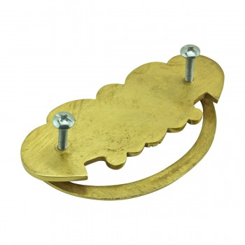 <PRE>Cabinet Drawer Pull Solid Brass Scalloped 4 1/4inch W </PRE>zoom8