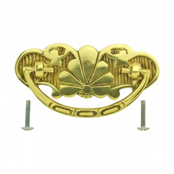 <PRE>Cabinet Drawer Pull Solid Brass Scalloped 4 1/4inch W </PRE>zoom9