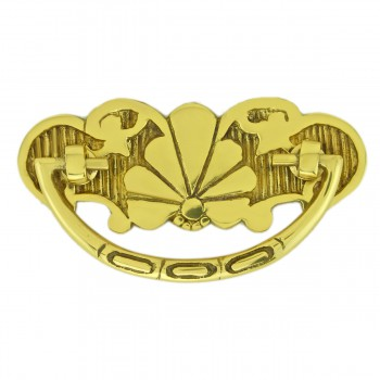 Scalloped Bail Pull Bright Brass 2 7/8 inch boring