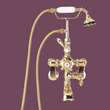 Solid Brass Handheld  Telephone Style Shower - Tub faucets, Tub faucet info & unique accessories, quantity discounts on all Tub faucets, brass Tub faucets, chrome Tub faucets, hand-held showers, riser showers, Bath Grab Bars, bathroom fixtures,tub faucets & free shipping by Renovator's Supply.