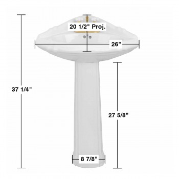 spec-<PRE>Corner Bathroom Pedestal Sink White China Deluxe Sheffield 4in Centerset</PRE>