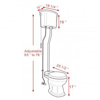 spec-<PRE>Ceramic High Tank Pull Chain Toilet White Round Brass </PRE>