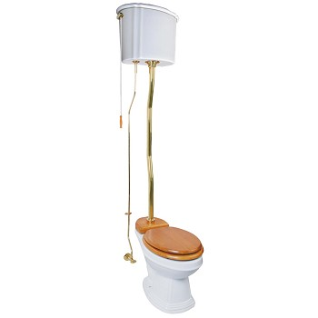 Ceramic High Tank Z-pipe Pull Chain Elongated Toilet - Brass PVD