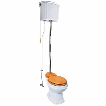 Renovators Supply White High Tank Toilet with Round Bowl Chrome Plate ZPipe Chain Pull Toilet High Tank Toilet Old Fashioned Toilet