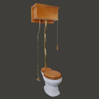Light Oak High Tank Toilet Round White Bowl with ZPipe High Tank Pull Chain Toilets High Tank Toilet with Round Bowl Pull Chain Toilets
