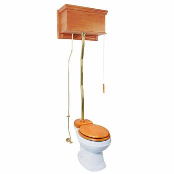 Light Oak High Tank Toilet Round White Bowl with Z-Pipe 20135grid