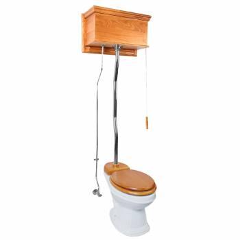 Light Oak Finish  Flat Panel High Tank Z-Pipe  Pull Chain Elongated Toilet - Chrome