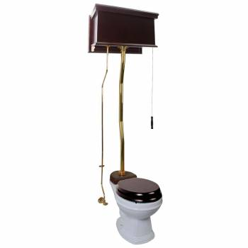 Dark Oak High Tank Z-Pipe Toilet With Round White Bowl 20141grid