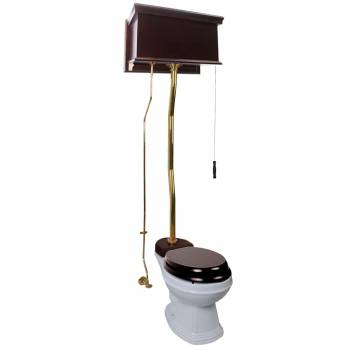 Dark Oak Finish  Flat Panel High Tank Z-Pipe  Pull Chain Elongated Toilet - Brass PVD