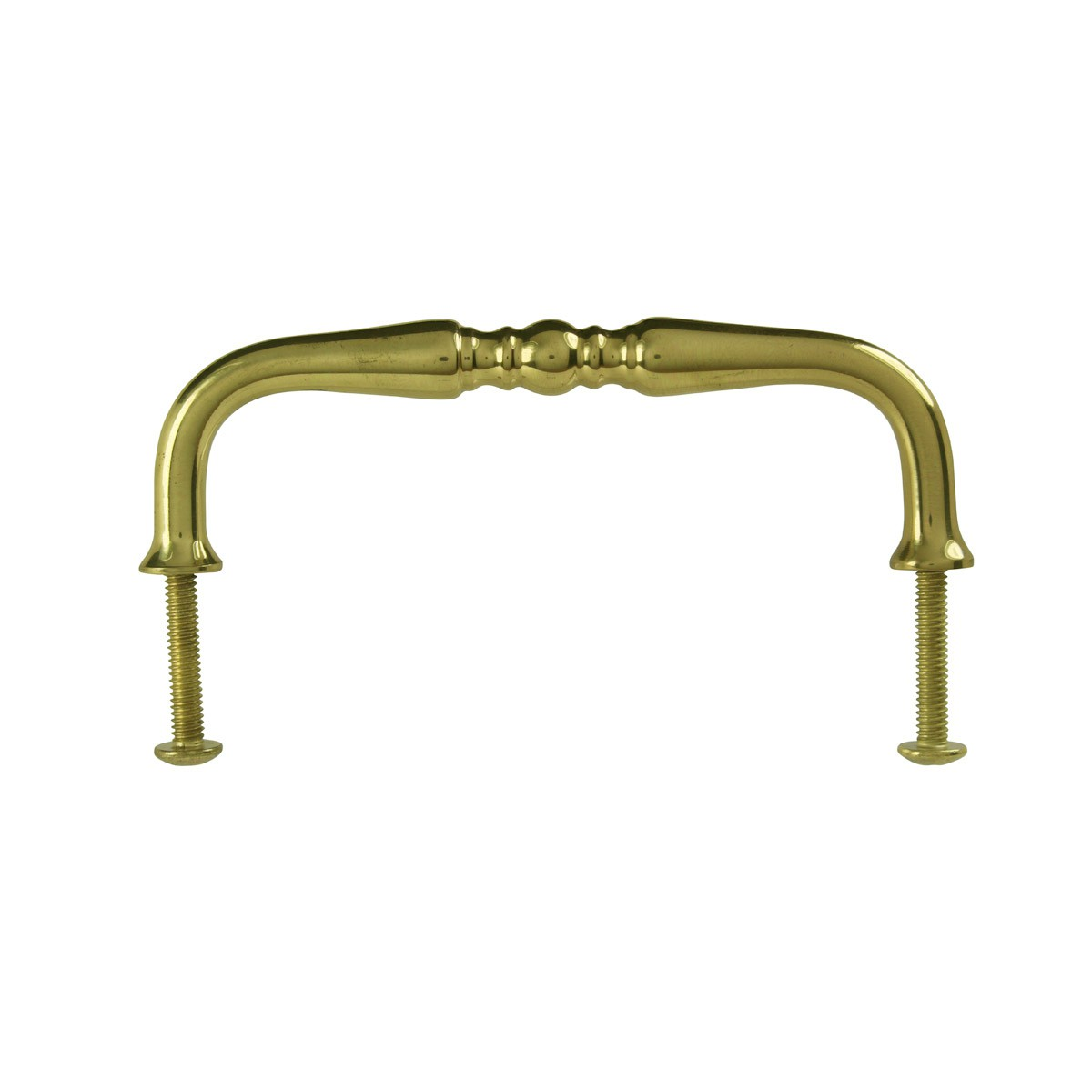 Cabinet  Bail Pull Bright Solid Brass Spooled 3 5/8 Furniture Hardware Cabinet Pull Cabinet Hardware