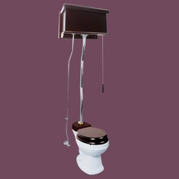 <PRE>Dark Oak High Tank Pull Chain Toilet With White Round Toilet Bowl Chrome Z-Pipe</PRE>zoom2