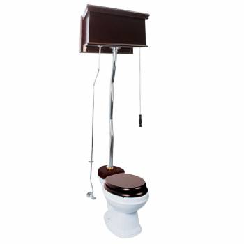 Dark Oak High Tank Pull Chain Toilet With White Round Toilet Bowl Chrome Z-Pipe20145grid