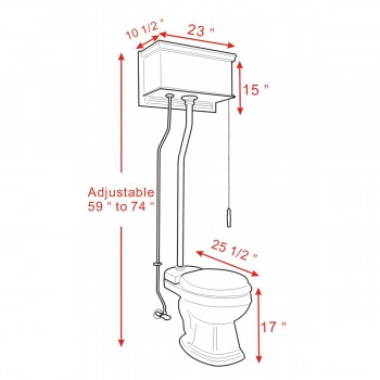 spec-<PRE>Dark Oak High Tank Pull Chain Toilet With White Round Toilet Bowl Chrome Z-Pipe</PRE>