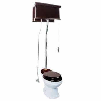 Dark Oak High Tank Toilet Flat Panel Chrome Z-Pipe Elongated White Porcelain Bowl20146grid