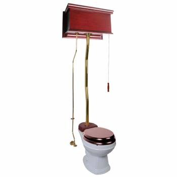 Cherry High Tank Z-Pipe Toilet Round White Bowl 20147grid