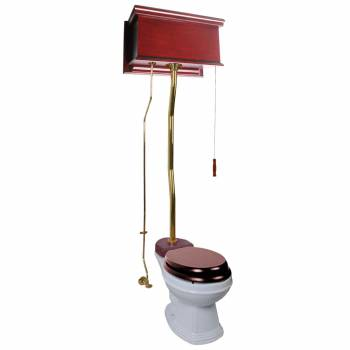 Cherry High Tank Z-Pipe Toilet Elongated White Bowl 20149grid