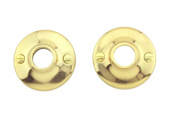 <PRE>Pair 2inch Colonial Rosettes Bright Solid Brass Passage Knob </PRE>zoom3