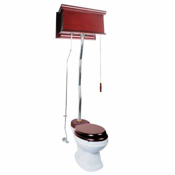 Cherry Wood Flat Panel Overhead High Tank Pull Chain Toilet White Elongated Bowl20157grid