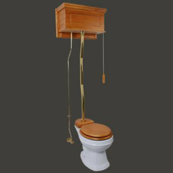 <PRE>Light Oak High Tank Z-Pipe Toilet Round White Bowl </PRE>zoom2