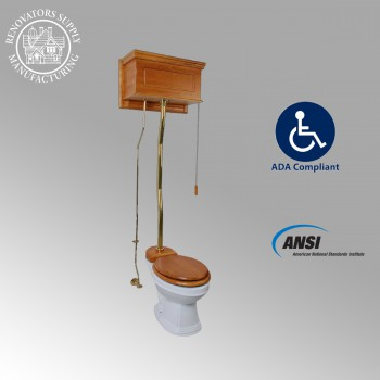 Light Oak High Tank ZPipe Toilet Elongated White Bowl High Tank Pull Chain Toilets High Tank Toilet with Elongated Bowl Old Fashioned Toilet