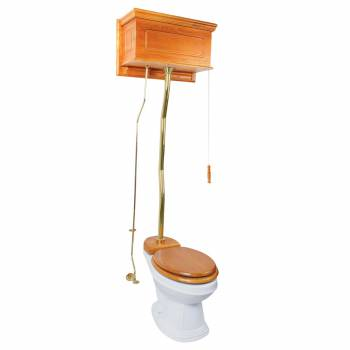 Light Oak High Tank Z-Pipe Toilet Elongated White Bowl 20159grid