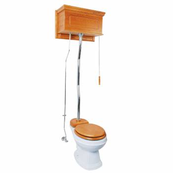 Light Oak High Tank Z-Pipe Toilet Round White Bowl  20160grid