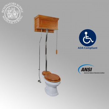 <PRE>Light Oak High Tank Pull Chain Toilet With White China Elongated Toilet Bowl</PRE>zoom2
