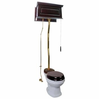 Dark Oak High Tank ZPipe Toilet Round White Bowl