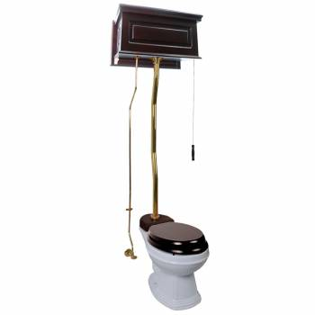 Dark Oak Finish  Raised Panel High Tank Z-Pipe  Pull Chain Elongated Toilet - Brass PVD