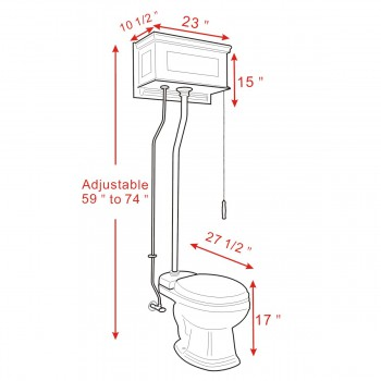 spec-<PRE> Dark Oak High Tank Pull Chain Toilet Z-Pipe Elongated White Bowl Bathroom Toilet</PRE>